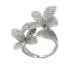 Anello argento floreale con...
